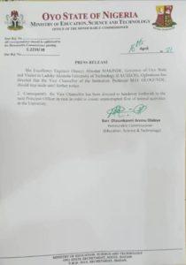 LAUTECH VC sack letter, press release, Oyo State Government, Seyi Makinde