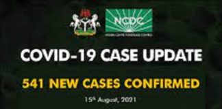 Nigeria records 541 new cases
